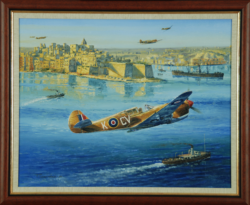 P-40 'Over Grand Harbour' original oil on board by Anthony Saunders